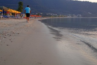 skala potamias porto thassos walking in beach